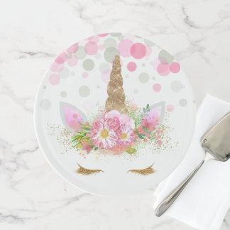 Einhorn-Gesichts-Kuchen-Kuchen-Stand Tortenplatte