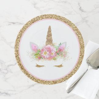 Einhorn-Gesichts-Rosa-Goldkuchen-Stand Tortenplatte