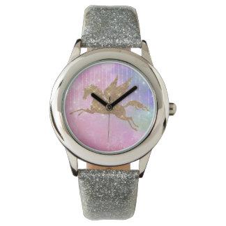 Einhorn-Goldschein-Rosa-Silber-Armbanduhr Armbanduhr