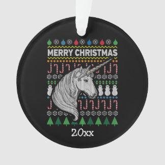 Einhorn-hässliche Weihnachtsstrickjacke-Tier-Reihe Ornament