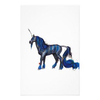 Einhorn Irespiral schwarzes gestreiftes blaues Briefpapier