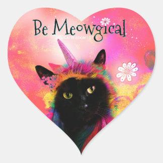 Einhorn-Katzen-Magie Herz-Aufkleber