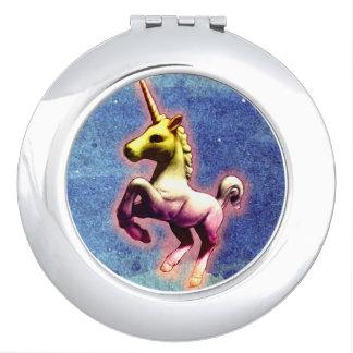 Einhorn-kompakter Spiegel rund (Galaxie-Schimmer) Taschenspiegel