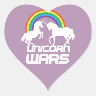 Einhorn-Kriege mit Regenbogen Herz-Aufkleber