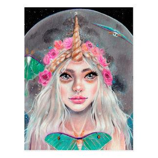 Einhorn-Mädchen und ihre Luna-Motten, Postkarte