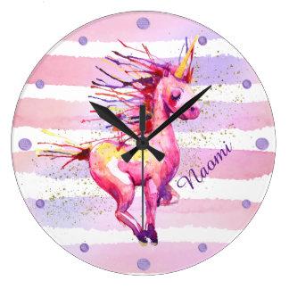 Einhorn-magisches Aquarell Stripes Rosa Große Wanduhr