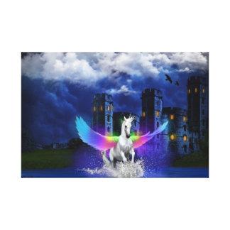 Einhorn mit Regenbogen-Flügeln Leinwanddruck