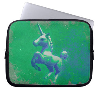 Einhorn-Neopren-Laptop-Hülse (glühend Smaragd) Laptopschutzhülle