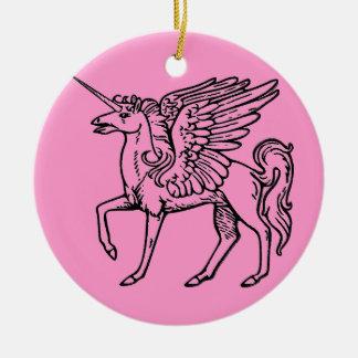 Einhorn oder Pegasus Unicórnio ou pégaso Einhorn Keramik Ornament