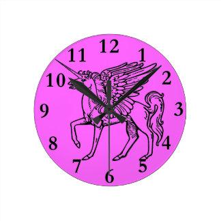 Einhorn oder Pegasus Unicórnio ou pégaso Einhorn Runde Wanduhr