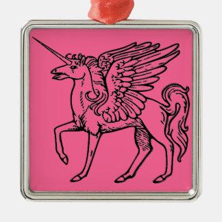 Einhorn oder Pegasus Unicórnio ou pégaso Einhorn Silbernes Ornament
