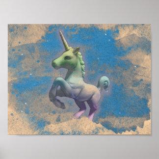 Einhorn-Plakat-Kunst-Druck 11x8.5 (Sandy-Blau) Poster