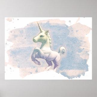 Einhorn-Plakat-Kunst-Druck 28x20 (Mond-Träume) Poster