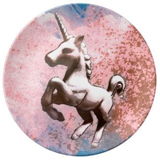 Einhorn-Porzellan-Platten-Dekor (verblaßtes Porzellanteller