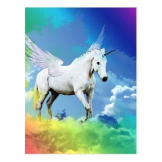 Einhorn-Regenbogen Postkarte