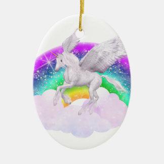 Einhorn-Träume Ovales Keramik Ornament