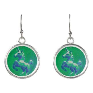 Einhorn-Tropfen Dangly Ohrringe (glühend Smaragd)