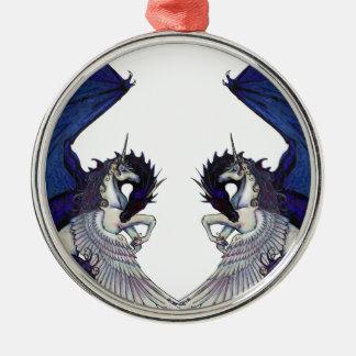 Einhorn-und Drache-Hochzeits-Liebhaber Silbernes Ornament