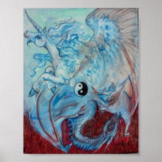 Einhorn und Drache Yin Yang Poster