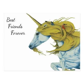 Einhorn und Fee-beste Freund-für immer Postkarte