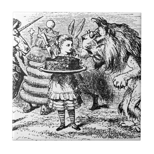 Einhorn und Löwe Kleine Quadratische Fliese