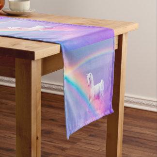 Einhorn und Regenbogen Kurzer Tischläufer