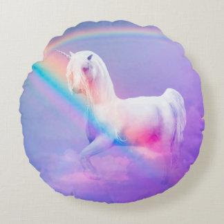 Einhorn und Regenbogen Rundes Kissen
