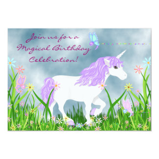 Einhorn-und Schmetterlings-Geburtstags-Einladung 12,7 X 17,8 Cm Einladungskarte