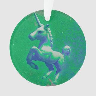 Einhorn-Verzierung - Kreis-Band (glühend Smaragd) Ornament