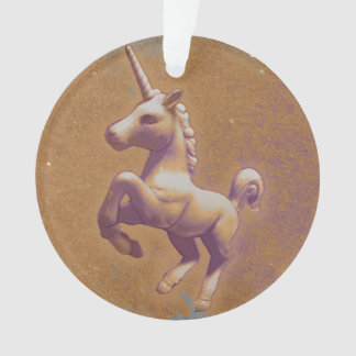 Einhorn-Verzierung - Kreis-Band (Metalllavendel) Ornament