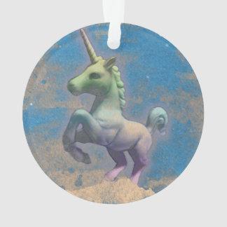 Einhorn-Verzierung - Kreis-Band (Sandy-Blau) Ornament
