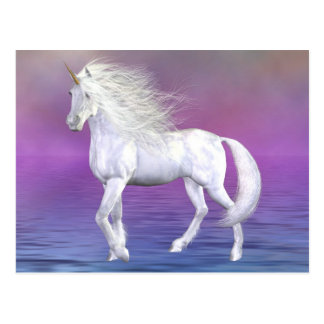 Einhorn-weiße Schönheits-Postkarte