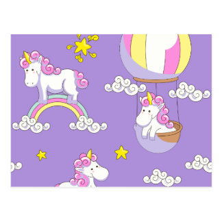 Einhörner in den Ballonen auf Regenbogen und auf Postkarte