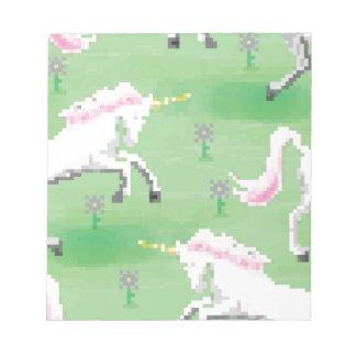 einhörner in den Feldern von pixel Notizblock