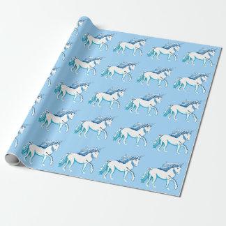 Einhörner kopieren hellblaues Packpapier