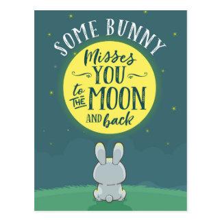 Einige Häschen-Fräulein You zum Mond und zur Postkarte
