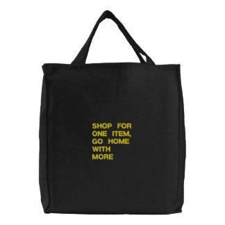 Einkaufsgewohnheit gestickte Tasche