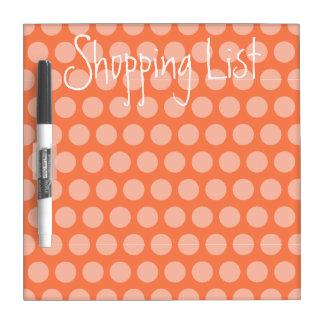 Einkaufsliste-Korallen-Tupfen Whiteboard