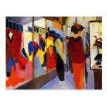 Einkaufspostkarte:  Mode-Geschäft durch Macke Postkarte