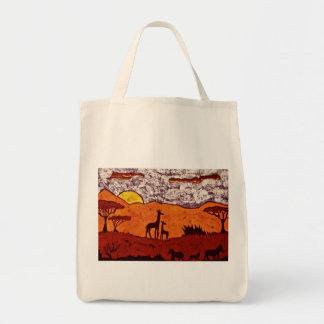 Einkaufstüte mit afrikanischer Landschaft Tragetasche