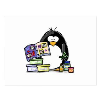 Einklebebuch-Pinguin Postkarte