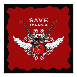 Einladung der Rock-and-Rollgitarren Save the Date