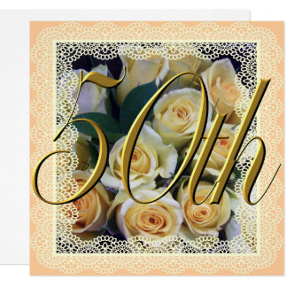 Einladung - sahniger gelber Rosen-Blumenstrauß