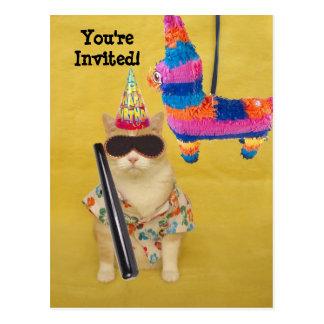 Einladung zum Geburtstag mit Pinata! Postkarte