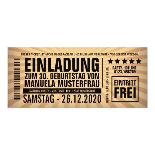 Geburtstags Party Goldfunkelnde Einladung · Einladungen 30. Geburtstag âu20acu201c  Eintrittskarte