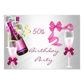 Einladungs-50. Geburtstags-Party-Party-Rosa 12,7 X 17,8 Cm Einladungskarte