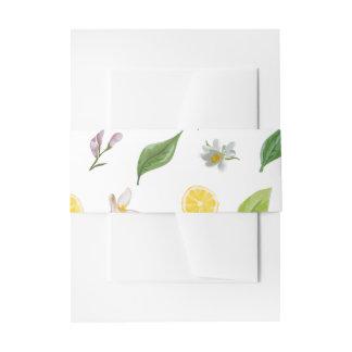 Einladungs-Bauch-Bänder - Zitronen-Blumendruck Einladungsbanderole
