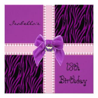 Einladungs-Bonbon-13 Geburtstags-lila Rosa Personalisierte Ankündigungskarten