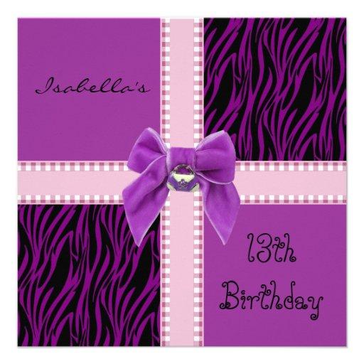 Einladungs-Bonbon-13. Geburtstags-lila Rosa Personalisierte Ankündigungskarten