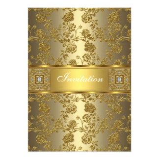 Einladungs-elegante noble Goldbronze mit Blumen Personalisierte Einladungskarte
